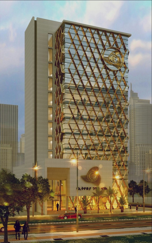 Geretta Consult won the architectural design competition proposed commercial bank of Ethiopia CBE with 13 story office design for their Peacock branch.